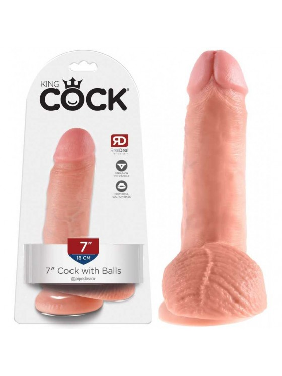 Gode ventouse avec testicules King Cock chair - 19 cm